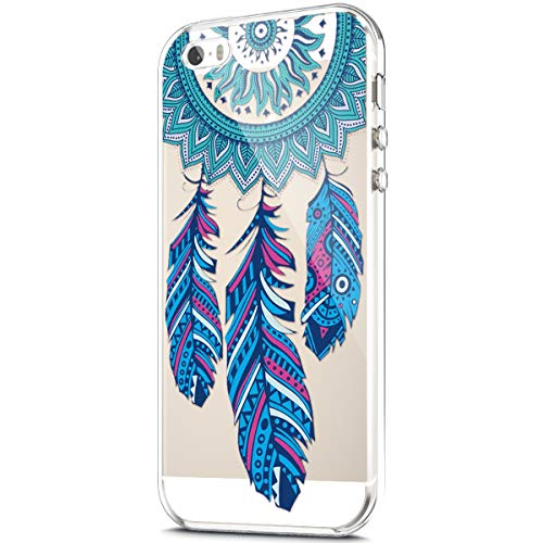 ikasus Case for iPhone SE/iPhone 5S 5 Case,Clear Art Panited Pattern Design Soft & Flexible TPU Ultra-Thin Transparent Flexible Soft Rubber Gel TPU Protective Case Cover,Blue Feather dream catcher