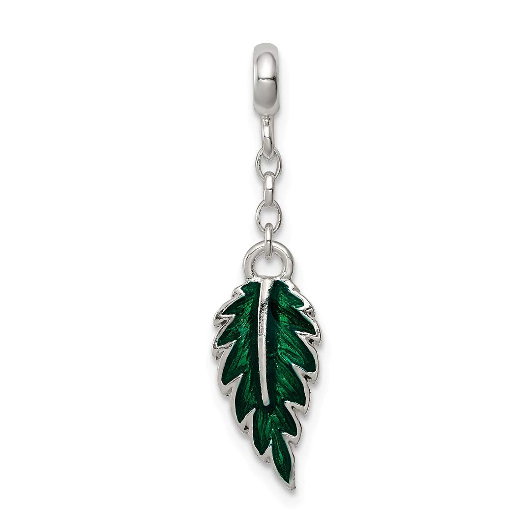 ICE CARATS 925 Sterling Silver Green Enameled Leaf 1/2in Dangle Enhancer Necklace Pendant Charm Outdoor Nature Fine Jewelry Ideal Gifts For Women Gift Set From Heart