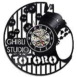 Creative Ghibli Studio Anime Disney Theme Vinyl Record Wall Clock Silent Quartz Movement Handmade DIY - Unique Home Decorative Mounted For Kids Family Popular Mechanical Art Decor