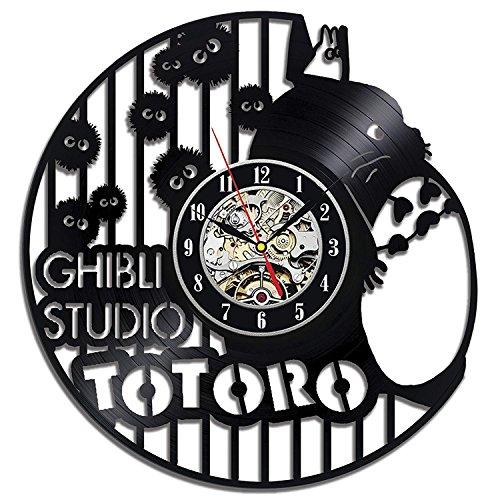 Ghibli Studio Anime Disney Theme Wall Clock Vinyl Records Silent Quartz Movement Handmade-Diameter12