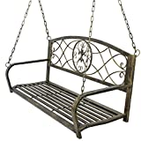 ZENY Metal Patio Porch Hanging Swing Bench Chair Outdoor Furniture Fleur-De-Lis Design Hanging Bench Chair Seat For Sale