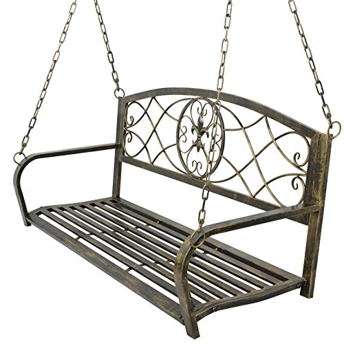 Cheap ZENY Metal Patio Porch Hanging Swing Bench Chair Outdoor Furniture Fleur-De-Lis Design Hanging Bench Chair Seat