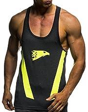 LEIF NELSON Gym Herren Stringer T-Shirt für Sport Fitness ohne Ärmel | Männer Bodybuilder Trainingsshirt Top ärmellos | Sportshirt - Bekleidung für Bodybuilding Training | 6286 Anthrazit-Gelb X-Large