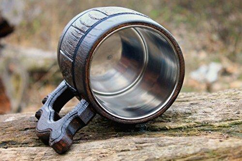 Handmade Beer Mug Made of Wood Tankard Wooden Stein Beer Tankard Stein Crafted Beer Mug Cup Capacity: 20.28oz (600ml) by Etno Motif (Image #6)