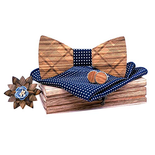 SFE Men's Carved Printing Wood Bow Tie Men's Business Wedding Formal Necktie BowTies 5-Pc Set Variety Colors Available