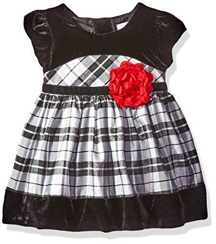 Youngland Baby Girls' Plaid Dress with Velvet Border, Black/Silver, 18 Months