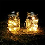 Iulove Solar Energy Wall Lamp Mason Cap Lamp LED Lights String Party Wedding Decoration 6PC