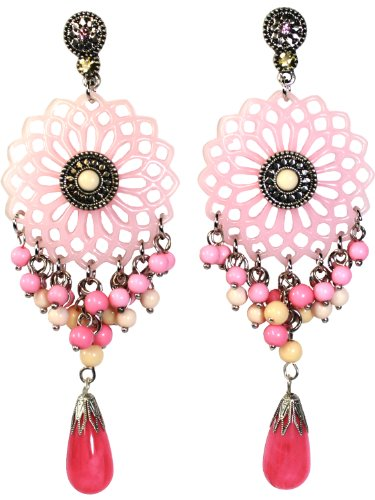 Bijoux De Ja Silver Tone Pink Beads Chandelier Fashion Drop Dangle (Fashion History Costume Trends And Eras)