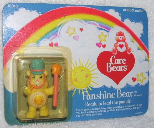 1984 Vintage Care Bears Miniature Funshine Bear Figure - Ready to Lead the (Vintage Kenner Care Bears)