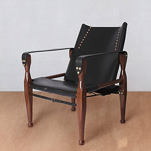 Black Safari Roorkhee Campaign Camp Leather Wood Lounge Sling Chair Custom Bespoke Outdoor Drinking Relaxing - Chairs Custom Camp