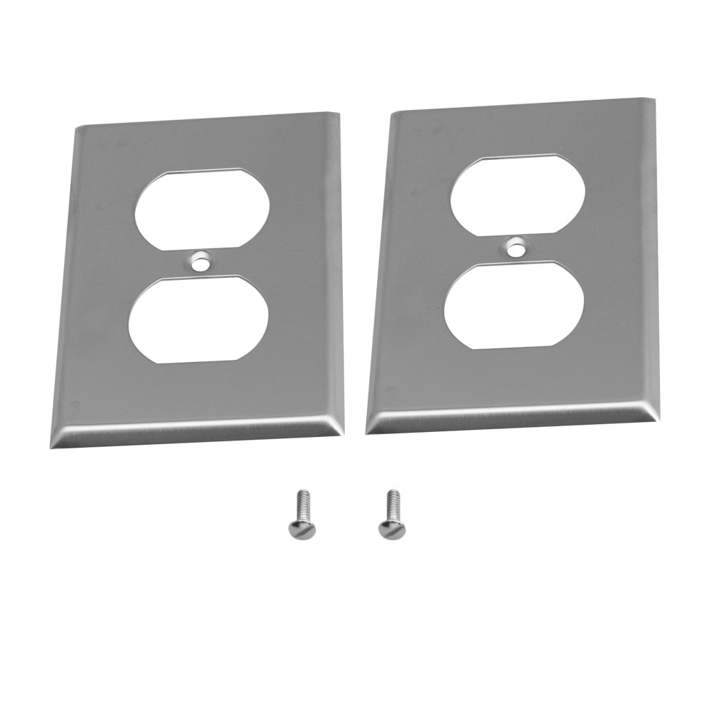 Yibuy 2x Silver Stainless Steel Outlet Cover Wall Plate for Kitchen Bathroom etfshop