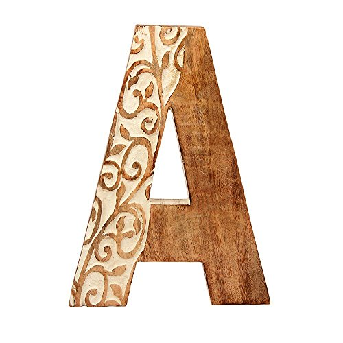 Aheli Wooden Floral Decorative Wall Hanging Alphabet Letter for Children Baby Name Girls Home Bedroom Wedding Birthday Party Decorations - Letter A