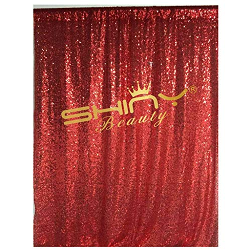 ShiDianYi 4FTX6FT-Red-SEQUIN Photo Backdrop, Wedding Photo Booth,Photography Background (Red)