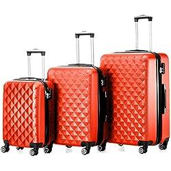 "Timmari Hard Lightweight Expandable ABS Luggage Set – 29"" + 26"" + 21"" Premium Quality Sturdy & Durable Hardshell - Double Wheels – Strong Zipper & Number Lock (Orange)"