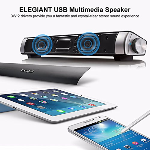 ELEGIANT USB Powered Mini Wired Sound Bar Soundbar Speakers for Computer Desktop Laptop PC, Black (15.7inch) by ELEGIANT (Image #5)'