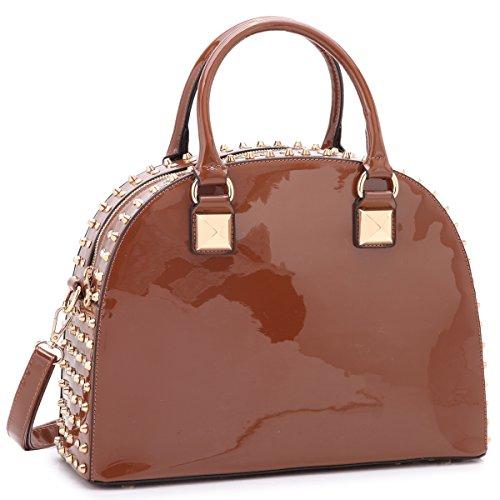 Dasein Patent Rhinestone Handbags for Women Studded Dome Zip Around Shoulder Bags Designer Purses Coffee ()