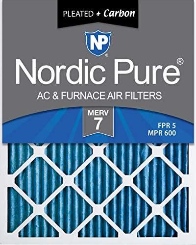 Nordic Pure MERV 7 Plus Carbon AC Ofenluftfilter, 20 x 24 x 1, 6 Stück