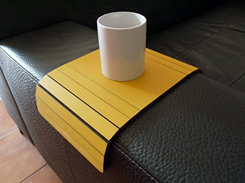 Wooden couch arm table 20 Available colors Furniture for armchair tray Made of poplar plywood Modern slinky sofa tables design by italian designer Laser cut wood and handmade in Italy