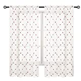 """Cheap VOILYBIRD Bossoroca Floral Sheer Curtains Embroidered Design 63 Inch Length for Bedroom Burgundy Flower Green Leaf on White Shade (52""""W x 63""""L, 1 Pair)"""