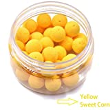 30pcs/Box 12mm Smell Carp Fishing Bait Boilies Eggs / 4 Flavors Floating Ball Beads Feeder Artificial Carp Baits Lure/ Hair Rig (Yellow-Sweet Corn)