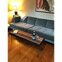 Beautiful striped coffee table mid century modern hairpin legs