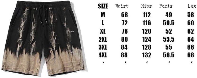 YMJ-DESY Été Shorts pour Hommes Nouveau Style Pantalons Mode Drawstring Imprimer Pantalon Droit Shorts de Plage Hommes,M L