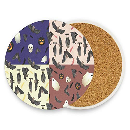 Coasters for Drinks,Halloween Bat Ghost And Skull Ceramic Round Cork Trivet Heat Resistant Hot Pads Table Cup Mat Coaster-Set of 4 -