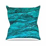 Kess InHouse Ebi Emporium Marble Idea! - Light Teal Aqua Aqua Blue Outdoor Throw Pillow, 16'' x 16''