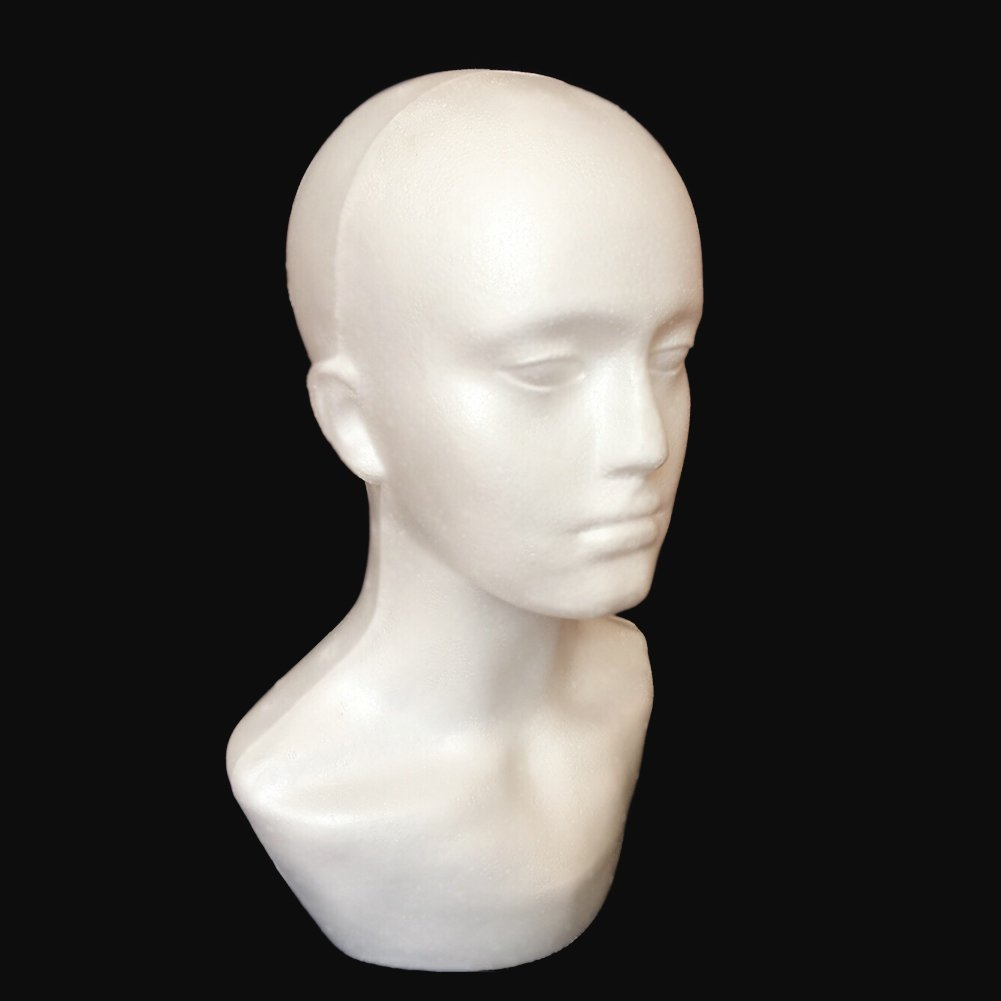 Male Foam Mannequin Head Model for Showcase Display Glasses Hat Wig Scarves White