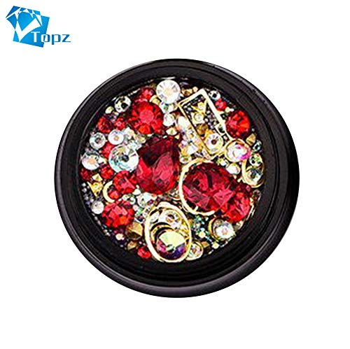 Halloween Colorful Glitter Beads Rhinestones Charms Gems Metal Shell Hollow Flake Rivet Studs DIY 3D Nail Art Decorations(red) ()