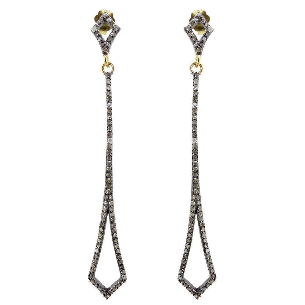 1.4ct Pave Diamond 925 Sterling Silver Long Dangle Earrings Vintage Look Jewelry