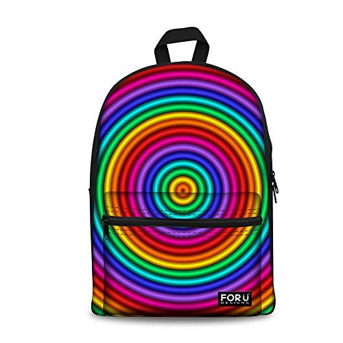 Print Backpack Daypacks Casual Laptop Bag Hiking Black kaleidoscope12 ThiKin Casual Travelling Bookbags Stripe Men Boys Backpacks School for Canvas Girls College Stylish Weekend Women Trip Teenagers Op5pqPw
