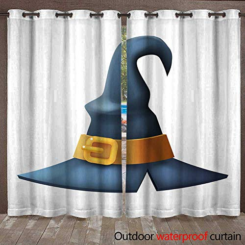 RenteriaDecor Outdoor Balcony Privacy Curtain Witch hat Halloween Children Costume Kid Masquerade Party d Cartoon icon Vector Illustration W96 x L108 ()