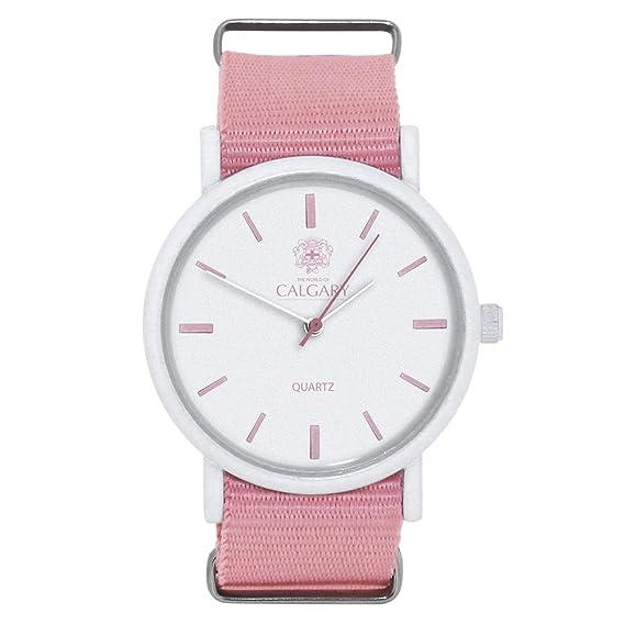 Relojes Calgary Pink Coral, Reloj Vintage para Mujer, Correa de Tela Rosa, Esfera Color Blanca: Amazon.es: Relojes