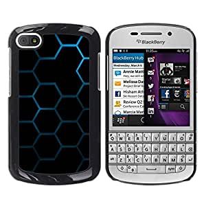 TopCaseStore / la caja del caucho duro de la cubierta de protección de la piel - Hexagon Honeycomb Pattern - BlackBerry Q10