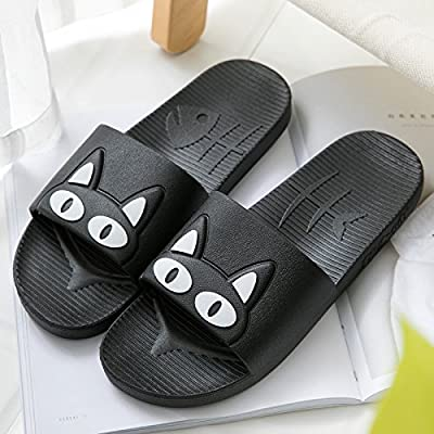 fankou Slippers women indoor summer anti-slip home with lovely cartoon couples home bath bathroom cool slippers male summer ,39-40, black white cat