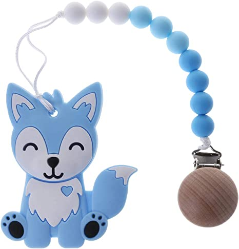 1 Set Cartoon Fox Baby Soother Chain Pacifier Clip With Teether Teething Toys