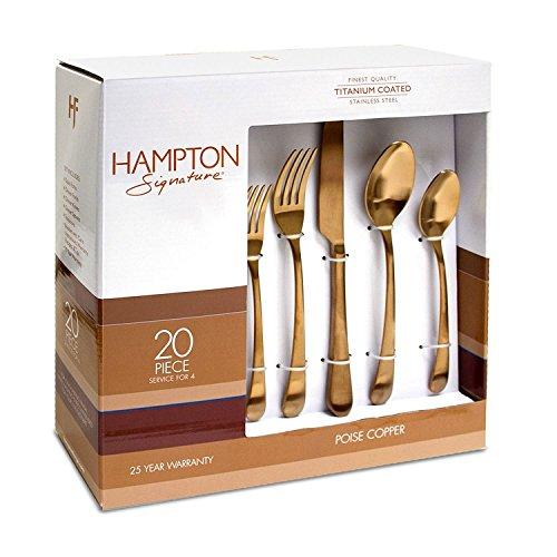 (Hampton Signature Poise Copper Flatware Set 20Pc)