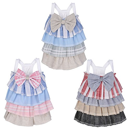Cool Dog Stripe (Himpokejg Pet Clothes,Lovely Multi-Layer Stripes Tiered Skirt Pet Dog Cat Dress Cool Clothes - Pink XS)