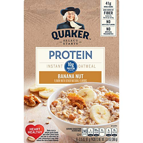 (Quaker Select Starts Protein Instant Oatmeal, Banana Nut, Breakfast Cereal, 6 Packets)
