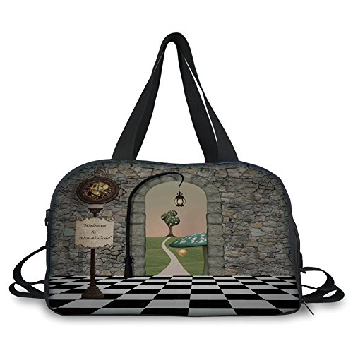 iPrint Travelling bag,Alice in Wonderland,Welcome Wonderland Black and White Floor Tree Landscape Mushroom Lantern Decorative,Multi ,Personalized by iPrint