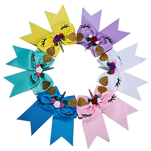 - Sacarla 7.5 inch Sparkly Large Size Fashion Unicorn Cheer Bows Elastic Headband For Girls Hair Bows Ponytail Tie With Gift Box Sweet Bows for girls pack of 6