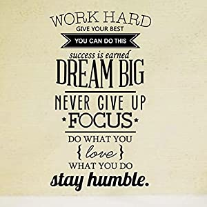 Ducklingup Wall Decal Quote Work Hard Dream Big Never