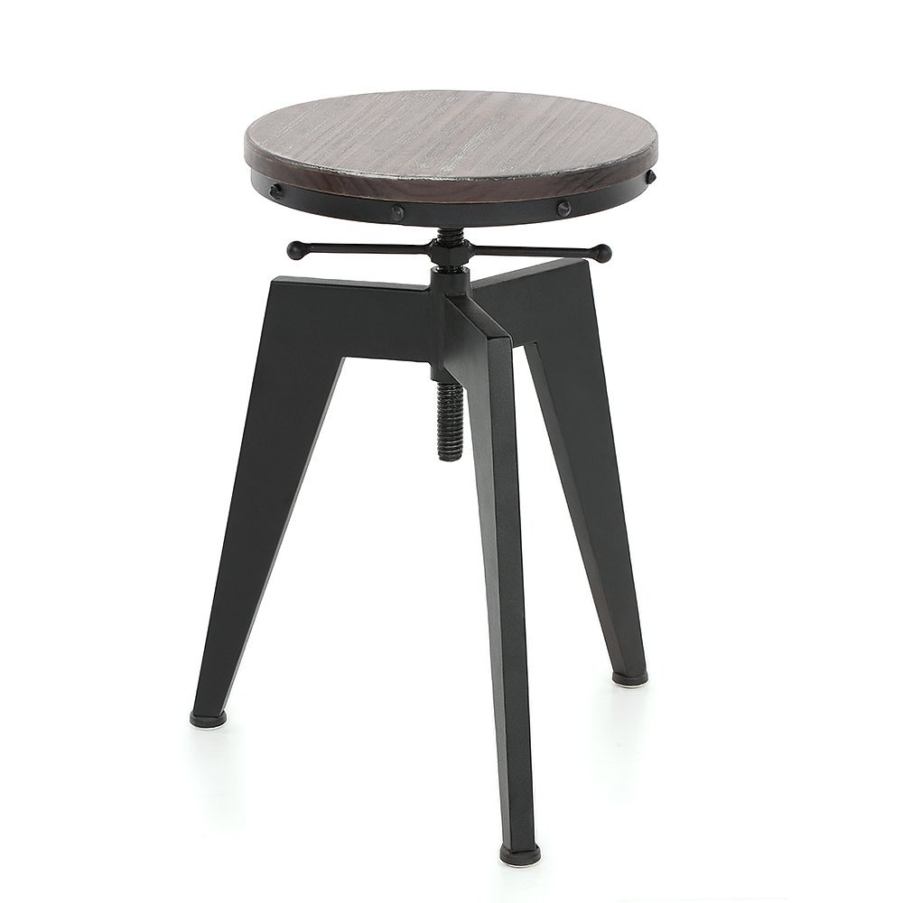 Bar Stool High Stool Kitchen Stool Industrial Dining Stool Sitting Chair Adjustable Height Swivel Natural Pinewood Seat Metal Leg