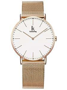 Alienwork IK Reloj Unisex Relojes Mujer Hombre Acero Inoxidable Oro Rosa Analógicos Cuarzo Blanco Impermeable Ultra-Delgada