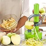 SUPOW Go Rapid Peeler, Potato Peeler Electric Auto Rotating Apple Vegetable Fruit Peeler Potato Peeling Machine Automatic Stainless Steel Peeler (Green)