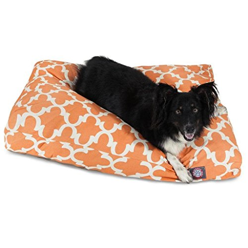 1 Piece Orange Trellis Pattern Dog Bed (Large), Elegant Geometric Print Pet Bedding For Puppies, Features Removable Cover, Water & Stain Resistant, Rectangle Shape, Polyester by Unknown