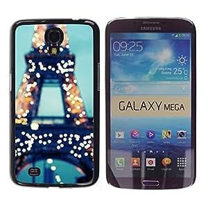 """Pulsar Snap-on Series Teléfono Carcasa Funda Case Caso para Samsung Galaxy Mega 6.3 , Torre París Francia Luces Azul Francia"""""""