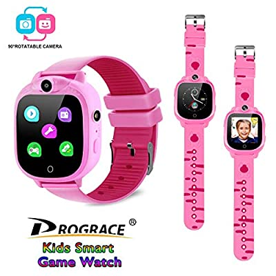 PROGRACE Kids Smart Watch with 90°Rotatable Camera Smartwatch Touch Screen Kids Watch Music Pedometer Flashlight FM…