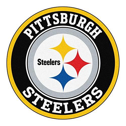 (27-Inch NFL Pittsburgh Steelers Mat Team Logo Printed Round Rug Sports Football Themed Floor Mats Carpet Home Office Bedroom Bath Area Rug Team Spirit Fan Gift Non-Skid Vinyl Backing, Soft Nylon )